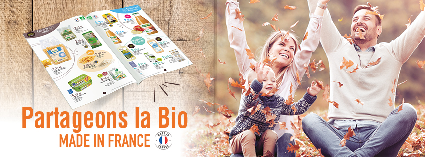 Couverture facebook partageons la bio made in france de bio monde en octobre 2019
