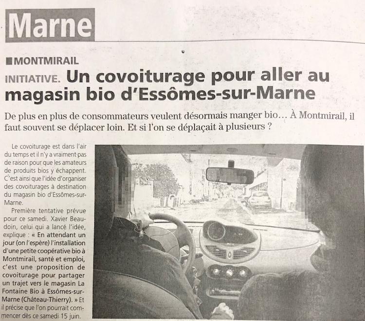 Couverture article La Marne Covoiturage Montmirail vers Essomes sur Marne à la Fontaine Bio