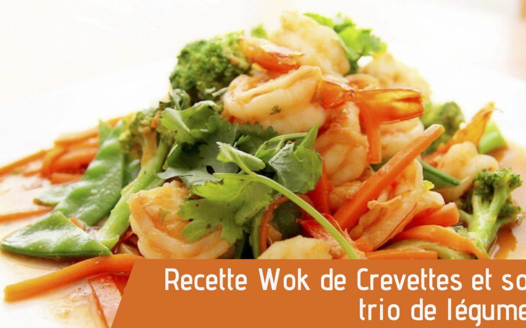 Recette bio Crevettes au wok avec trio de légumes