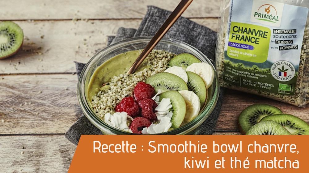 Recette : Smoothie bowl chanvre, kiwi et thé matcha