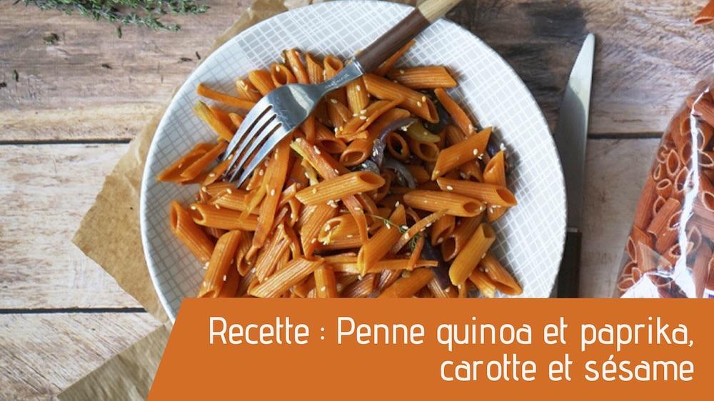 Recette : Penne quinoa et paprika, carotte et sésame