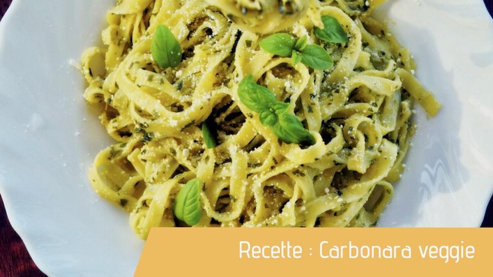 Carbonara veggie dans une assiette