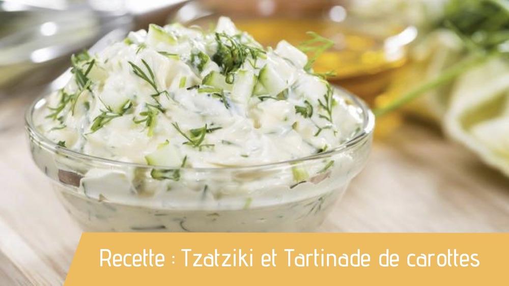 Recette bio du tzatziki et tartinade de carottes cumin