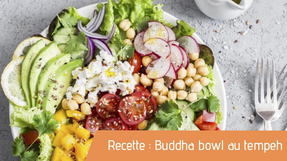 Affiche recette bio Buddha bowl au tempeh